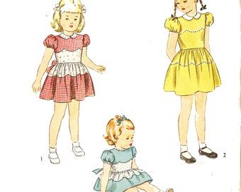 Simplicity 1397 Vintage 1940s Toddler Girl's Dress Sewing Pattern