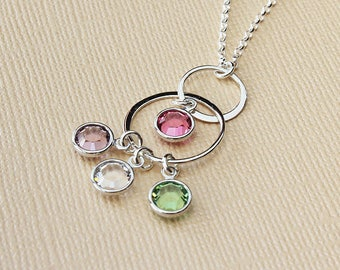 Mothers day gift blended family gift for mom birthstone necklace for mom