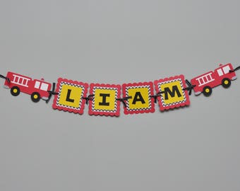 Fire Truck Party Name Banner, Fire Truck Birthday Banner, Fire Engine Banner