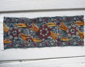 11 inch Antique Victorian Embroidered Tulle Sample Fragment Trim Metallic Thread Accents(Ref: A-4457/1 Box 3)