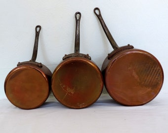 Garanto Villedieu 2mm copper graduated pots, pans, with iron handles, a set of 3, vintage french home decor, country kitchen, retro dining