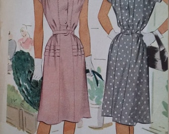 Vintage McCall 6469 Sewing Pattern Size 16 Dress with Two Skirt Fronts