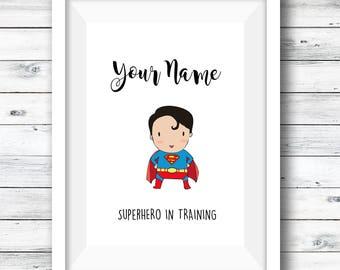 Personalised superhero print, Superhero Alphabet Chart, bundle offer, superhero fan art, boys room, gift for boys, superhero print, custom