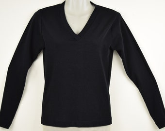 Vintage Black Acrylic V-neck Sweater / Top with  Long Sleeves,   Size X-Small / Small by Dibs of Portland