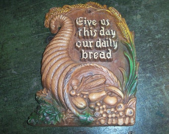 Vintage Kitchen Wall Hanging Decor Cooking Religious Prayer Food