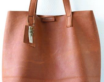 Leather shoulder bag, Leather tote