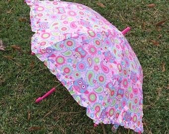 Umbrella/Child's Personalized OWL Paisley Stripe Print Umbrella with Monogram