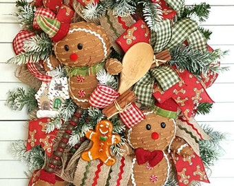 Gingerbread Man Swag, Christmas Swag, Christmas Front Door, Holiday Wreath,  Gingerbread house, Gingerbread Man, Christmas, Christmas decor