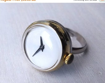 Womens watch, Silver ring watch ,Soviet watch, Gold plated watch ring, Recycled watch , Russian watch, gold plated watch