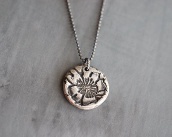 SUMMER SALE Sunflower Necklace, Big, Boho, Charm Necklace, Embossed, Wax Seal Style, Sterling Silver, Heart Pendant, Rustic, 17 Inch, Curb C