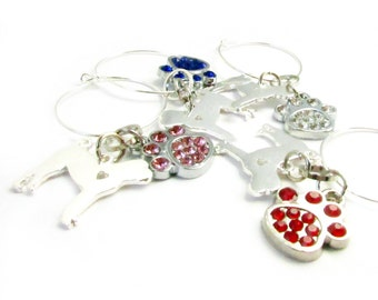 Wine Charms, Dog Wine Charms, Wine Glass Charms, Hostess Gift, Paw Wine Charms, Doggie Wine Charms, Wine Accessories, Wine Gift Set