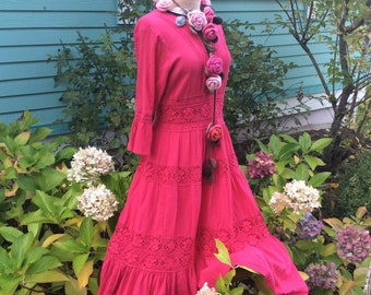 Fairytale Dress Vintage Mexican Wedding Dress in Deep Rose Neiman Marcus Exclusive  Sale was 82.00 now 49.00