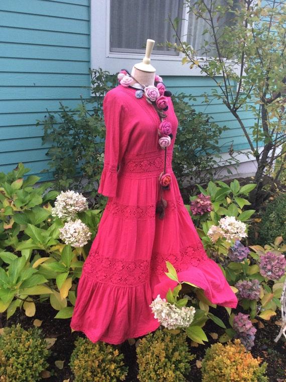 Fairytale dress vintage mexican wedding dress in deep rose for Mexican wedding dresses for sale