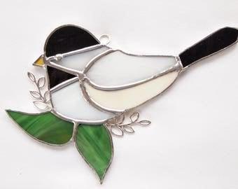 Chickadee Black Capped Stained Glass Suncatcher