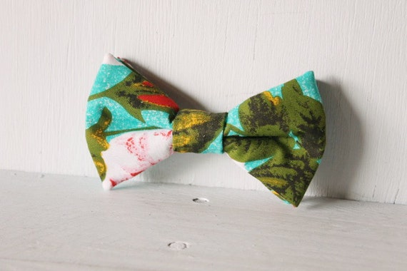 Dog bow tie >> Teal, pink and green floral bow with elastic >> Pet gift