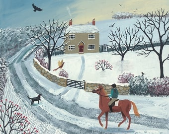 Print of English countryside in winter with horse, rider and dog from an original acrylic painting 'Winter Ride' by Jo Grundy