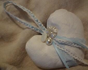 Something Old New Borrowed Blue Natural Lavender Filled Heart Sachet