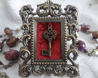 Upcycled Mini Picture Frame Pendant Necklace Miniature Frame Victorian Steampunk - Atlantic Rock Threads