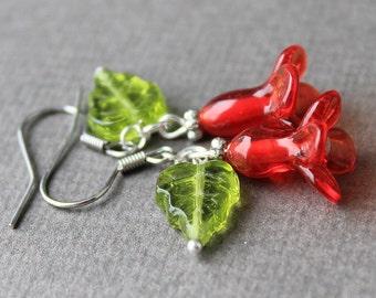 Lampwork Flower Earrings, Sterling Silver Hook Earrings, Floral Lampwork Earrings, Floral Glass Earrings, Earrings, Flower Earrings Jewelry