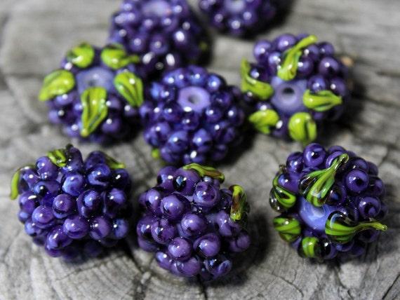Lampwork beads blackberry glass realistic