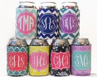 Personalized Can Cooler, Monogram Can Cooler, Personalized Can Cozie, Can Cozy