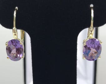 GORGEOUS 5ct Color Change Alexandrite 14k Yellow Gold Vermeil 925 Oval Cut Leverback Earrings Jewelry Gift mother Wife June Birthday