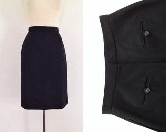 black pencil skirt / high waisted black skirt / vintage 90s skirt knee length