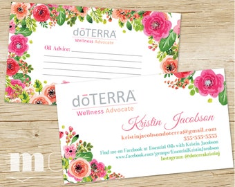 doTerra Business Card, Essential Oils Small Business Floral Design Business Card, doTerra Marketing, Oil Advice Fill In Card, PRINTABLE