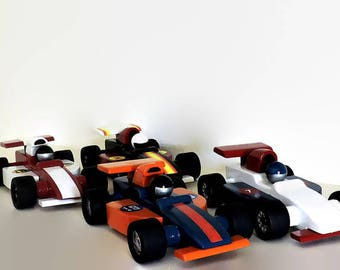 Wooden toy cars, set of four indy race cars