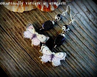 Earrings, Butterfly's, SALE, Galaxy, Beaded, Garden, Nature, Victorian, Art, Shabby Chic, Handmade
