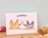 Cheers celebration chicken hen illustration blank A6 greeting card hen party congratulations well done champagne toast