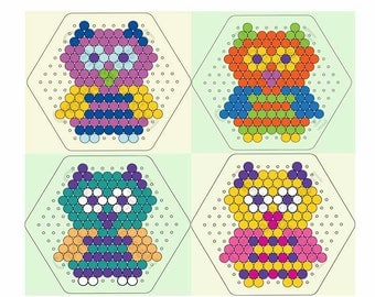 Owls Instant Download Perler Bead Pattern, Set Of 4 Patterns
