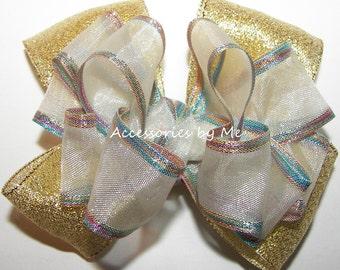White Gold Hair Bow, Iridescent Hairbow, Organza Metallic Rainbow Clip, Baby Girls Toddler Gold Hair Clip, Unicorn Princess Birthday Pageant