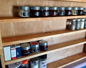 Large Rustic Spice Rack (cherry)- Kitchen Supplies - Home Decor - Organization