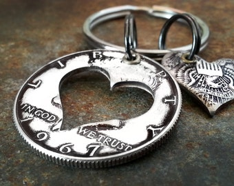 50th Birthday 1967 Silver Heart Keychain 50th Anniversary 50th Birthday Gift Coin Jewelry made from a 1967 Kennedy Half Dollar
