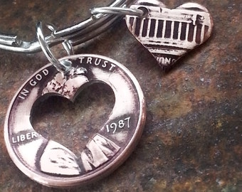 1987 30th Birthday Penny Heart Key Chain 30th Anniversary 30th Birthday Gift Coin Jewelry made from a 1987 Penny