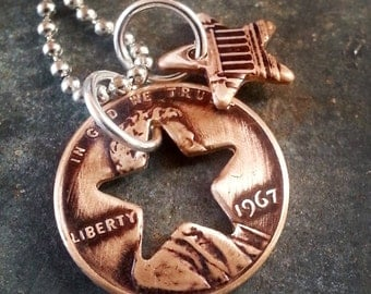 1967 50th Birthday Penny Star Necklace 50th Anniversary 50th Birthday Gift Coin Jewelry made from a 1967 Penny
