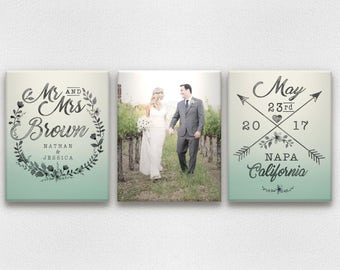 Ombre & Watercolor Wedding Canvases with Photo, Names, Date, and City