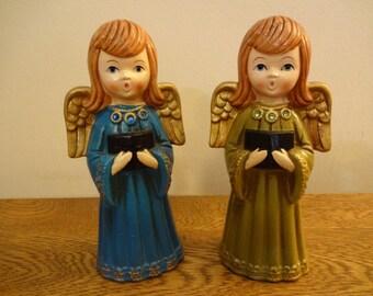 "Vintage Ardco Caroling Angel Figurines - Set of 2 - 8"" Singing Angels - Ardco Fine Quality - Japan - Mid Century Christmas Angel Figurines"