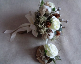 Winter white woodland rustic wedding bridal bouquet and buttonhole with pine cone alternative bridal winter bouquet6 country wedding bouquet
