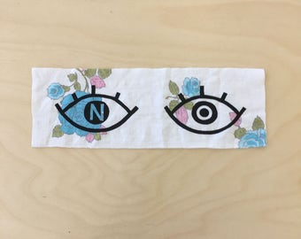NO eyes sewable patch // vintage fabric // turquoise floral