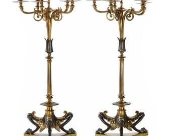 Napoleon III Five-Light Pair of Candelabra by Victor Paillard c. 1870, 609TPX25