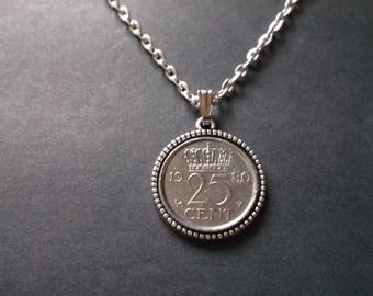 Netherlands Coin Necklace - Netherlands Crown Pendant  dated 1980 in Pendant Tray