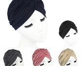 Women Stretchy Pleated Turban Hat Head Wrap Hijab Cap