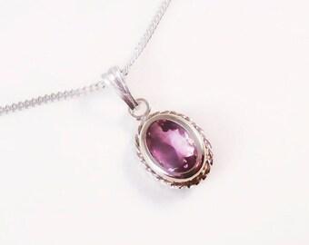 Fluorite, Sterling Silver Fluorite Pendant Necklace, Fluorite Necklace, Purple Necklace, Antique Style Necklace, Purple Gem Necklace,