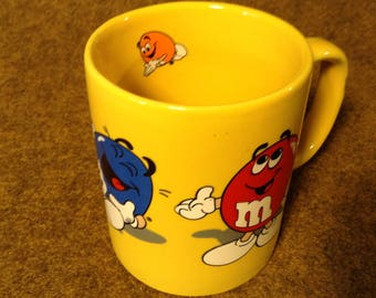 Vintage Mug M&M's Candy - Bright Yellow Ceramic with Candy Characters on Outside and In - 1996
