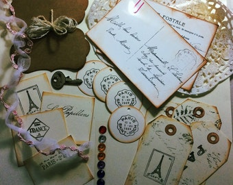 Paris journal supplies,French journal supplies,vintage style supplies,scrapbook supplies