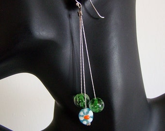 Vintage Sterling Silver Multi Chain & Lamp Work Bead Dangle Earrings