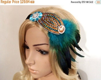 SALE Blue Green Flapper headband, Gatsby headband Headpiece, 1920s Great Gatsby headpiece, Sequin Beaded Feather headband, Roaring 20s headb