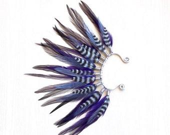 Mohawk Feather Ear Wrap/Cuff in Dark Purple & Gray